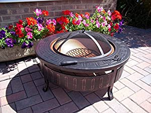 Round Patio Fire Pit Decking Firepit Garden Heater Table Brazier