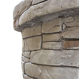 Royalfire Rfjc22818wbf-ns Round Wood Fibreglass Burning Fire Pit - Natural Stone by Cozy Bay
