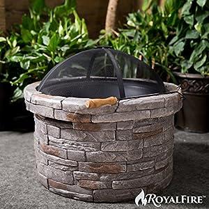 Royalfire Rfjc22818wbf-ns Round Wood Fibreglass Burning Fire Pit - Natural Stone by Cozy Bay