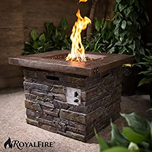 Royalfire Rfjc30501gf-ns Square Fibreglass Gas Fire Pit - Natural Stone from Cozy Bay