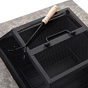 Safstar Outdoor Patio Firepit Heavy Duty Garden Stone Fire Pit With Matte Steel Fire Bowl by Safstar
