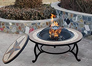 Saltillo Table Firepit - Large Fire Bowl Garden Heater Outdoor Dining Bbq Fire Pit