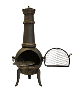 Santa Lucia - 110cm Cast Iron Chimenea Bronze - Medium by Primrose