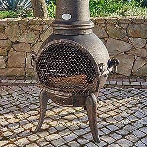 Santa Lucia Cast Iron Large Chimenea Bronze by Primrose