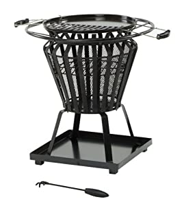 Signa Round Fire Pit With Grill - Press Steel Firepit Has Large 380mm Diameter Cooking Area Comes Complete With Poker by Lifestyle