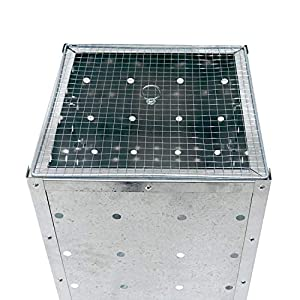 Simpa 120l 120 Litre Large Square Galvanised Metal Incinerator - 40cm W X 40cm L X 90cm H - Quick Easy Assembly - Single Bin from Siimpa