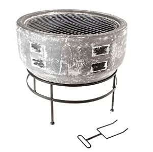 Slate Grey Clay Toluca Large Firebowl And Bbq