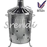 Small Medium Large 15l 60l 90l Litre Metal Galvanised Garden Incinerator Fire Bin Burning Leaves Paper Wood Rubbish Dustbin Made In U K Large 90l Inc by UK