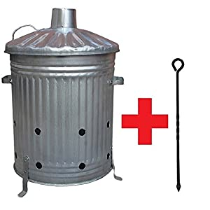 Small Medium Large 15l 60l 90l Litre Metal Galvanised Garden Incinerator Fire Bin Burning Leaves Paper Wood Rubbish Dustbin Shovel And Poker Made In U K 60l Inc With Poker from UK
