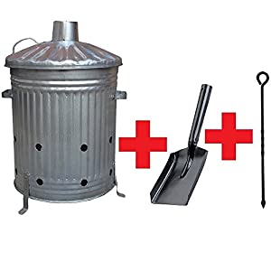 Small Medium Large 15l 60l 90l Litre Metal Galvanised Garden Incinerator Fire Bin Burning Leaves Paper Wood Rubbish Dustbin Shovel And Poker Made In U K 60l Inc With Shovelpoker by UK