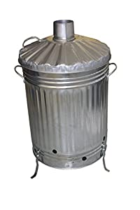 Small Medium Large Garden Fire Bin Incinerator Galvanised Ideal For Burning Wood Leaves Paper 110 Litre by S&MC Gardenware