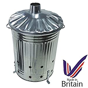 Small Medium Large Garden Fire Bin Incinerator Galvanised Ideal For Burning Wood Leaves Paper 90 Litre Fast Burner By Smc Gardenware by S&MC Gardenware