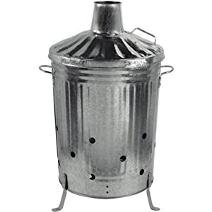 Small Medium Large Garden Fire Bin Incinerator Galvanised Ideal For Burning Wood Leaves Paper 90 Litre from S&MC Gardenware