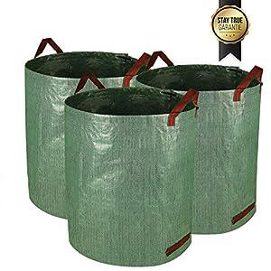Speedsporting 3x 272l Large Garden Waste Bags Garden Storage Bag In Set Waterproof Rubbish Refuse Sacks Stable Garden Bag With Handles Tearproof Leaf Grass Bags - Self-standing And Foldable by Shenzhenshi Fabule Dianzishangwuyouxiangongsi