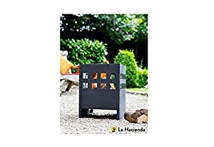 Square Black Steel Modern Novo Fire Basket Wood Burner Patio Heater