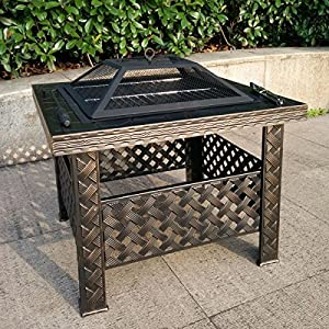 Square Firepits 26 Camping Fire Pit Outdoor Patio Garden Table Heater Stove Bbq With A Kit Including Grill Grate Cover By Qisan by Qisan