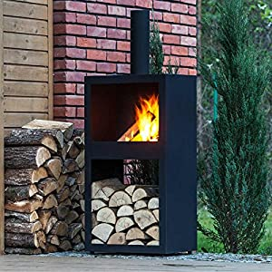 Square Steel Chiminea - Black Metal Chiminea - Black Powder Coated Steel from Brackenstyle