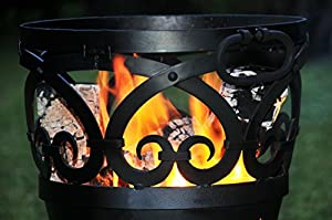 Stars Scrolls Design Small Wrought Iron Log Burner Barbeque Fire Pit Includes Ash Pan Grill by Black Country Metal Works