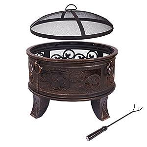 Steel Fire Bowl 66cm Fire Pit Black Classic Style Fire Basket Sturdy Poker Legs Protective Cap Sparking Cap by H&D Manufaktur