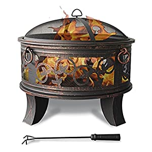 Steel Fire Bowl 66cm Fire Pit Black Classic Style Fire Basket Sturdy Poker Legs Protective Cap Sparking Cap by H&D Manufaktur