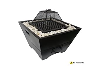 Steel Fire Bowl Pit With Cooking Grill Pebble Surround
