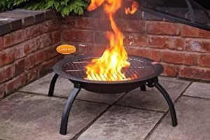 Steel Portable Fire Bowl Bbq Firepit With Folding Legs 56cm W X 39cm H by UK-Gardens