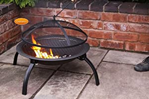 Steel Portable Fire Bowl Bbq Firepit With Folding Legs 56cm W X 39cm H by UK-Gardens