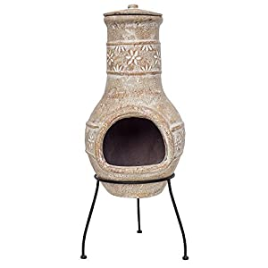 Straw Coloured Clay Chimenea - Medium - Flower Motif Design That Burns Wood And Is Great For Campfire Cooking by La Hacienda
