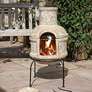 Straw Coloured Two Part Chimenea With Star Flower Design Including A Chrome Plated Cooking Grill Great For Campfire Cooking by La Hacienda