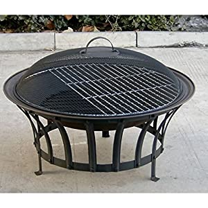 Stromboli 690mm Steel Fire Pit With Barbecue Grill Mesh Safety Spark Guard