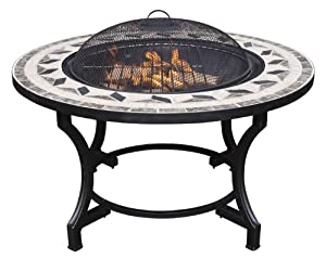 Stunnning Mosaic Fire Pit Bowl And Bbq Table - Mosaic Tile Surround from Leisure Traders