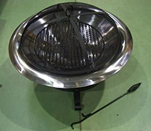 Stylish Fire Pit Bowl Brazier With Silver Edge