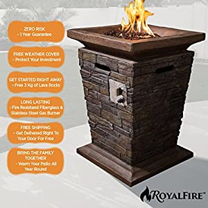 Tall Gas Fire Pit And Patio Heater - Comes With 3kg Of Lava Rock Fuel And A Pvc Cover To Protect Your Investment For The Long Term Natural Stone Colour Fits Any Outdoor Area from RoyalFire