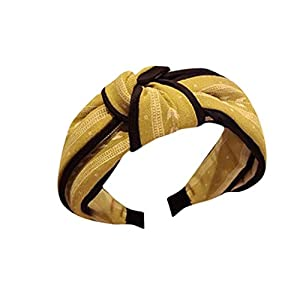 Taottao Womens Yoga Elastic Cute Hairband Turban Knotted Hair Band Bandanas Headband Yellow
