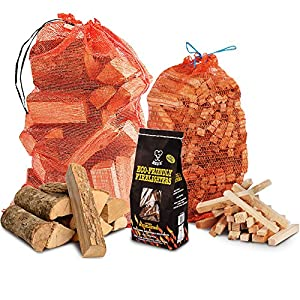 The Chemical Hut Fire Wood Pack- 15kg Kiln Dried Logs 3kg Kindling 96 Pk Of Eco Firelighters by The Chemical Hut