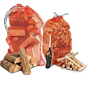 The Chemical Hut Fire Wood Pack- 15kg Kiln Dried Logs 3kg Kindling Clipper Wave Lighter by The Chemical Hut
