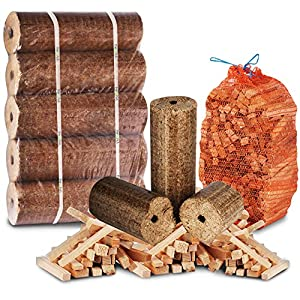 The Log Hut Fire Pit Chiminea Starter Pack- Extra Large Wood Heat Fuel Logs 3kg Kindling - Comes With The Log Hut Woven Sack by The Chemical Hut