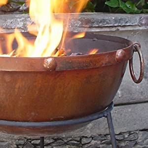 Theydon Large Rustic Steel Fire Bowl 50cm Dia To Give That Medieval Feel