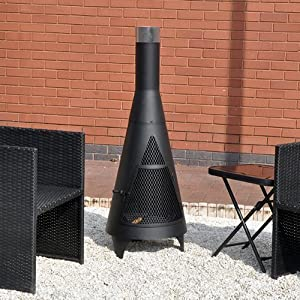 Tower Outdoor Black Chiminea