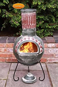 Traditional Mexican Plumas Green Large Clay Chimenea Includes Lid And Stand