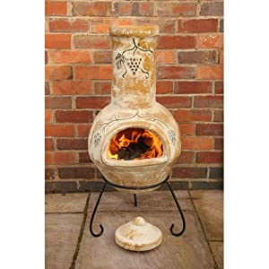 Buy Traditional Mexican Style Large Yellow Outdoor Clay Chimenea With Attractive Grapes Design