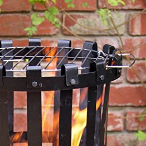 Traditional Outdoor Large Steel Brazier Complete With Barbeque Grill - Ideal For Burning Garden Rubbish