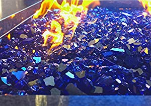 True Blue Reflective Fire Pit Fire Glass 10lbs 1 from Cosmopolitan Fire and Decorative Glass