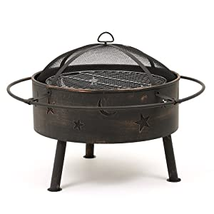 Trueshopping Astral Garden Patio Backyard Firepit Heater Bbq Includes Grill And Mesh Spark Guard Cover Log Charcoal Burner by Trueshopping