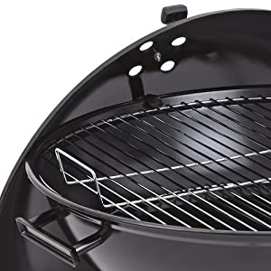 Trueshopping Black Kettle Barbecue - Luxury Garden Outdoor Charcoal 54cm Bbq Grill With Wheels - Black Enameled Finish - Storage Shelf Included - 22 54cm Diameter from Trueshopping