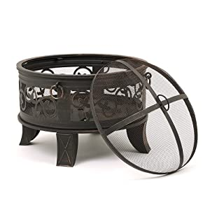 Trueshopping Santorini Garden Patio Outdoor Fire Pit Heater Log And Charcoal Burner Includes Mesh Spark Guard Poker And Grate from Trueshopping