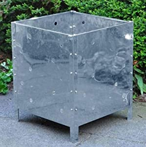 Unibos Square Incinerator Silver Fire Burning Garden Fire Bin Dustbin by Unibos