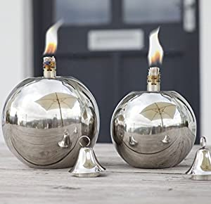 Verona - Silver Ball Table Or Patio Oil Lamp - Stainless Steel - Outdoor Garden Path Burner Patio Torch Lighting- Medium -17 X 17 X 20cm by Za Za Homes