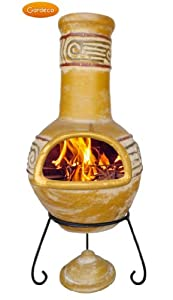 Viento Large Yellow 110cm Outdoor Clay Chimenea With Stand And Lid