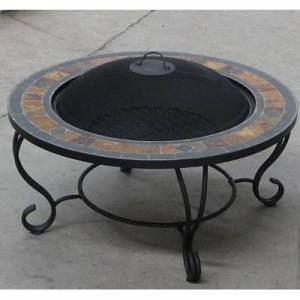 Villa Beacon 35 Inch Diam Natural Slate Coffee Table With Fire Pit Bbq Grill Safety Cover